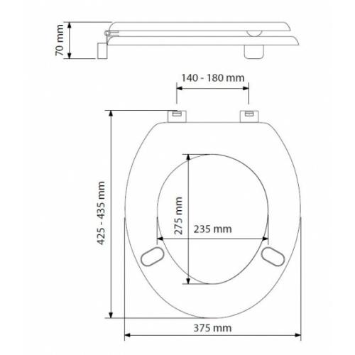 Abattant réhaussé Universal 40 mm pour personne à mobilité réduite Universal PMR 40mm Schéma