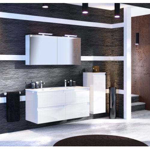 Meuble double vasque 4 tiroirs 120 cm RIVAGE Cristal Blanc