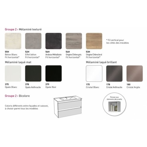 Meuble simple vasque bicolore 90 cm RIVAGE Opale Blanc et Chêne Brut Coloris RIVAGE G2 2020
