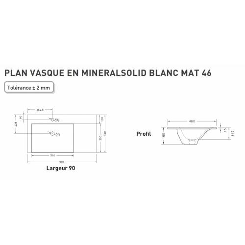 Meuble simple vasque SWING 90 cm Opale Noir Plan minéralsolid 90 décalé Schamé