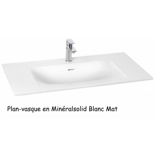 Meuble simple vasque SWING 90 cm Opale Noir Plan Minéralsolid