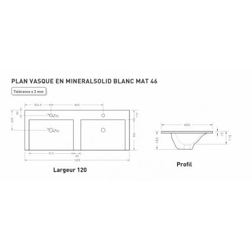 Meuble double vasque SWING 120 cm 4 tiroirs Cristal Anthracite Plan minéralsolid 120cm Schamé