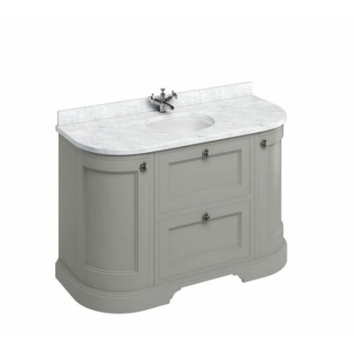Meuble de salle de bain traditionnel simple vasque Olive Burligton 4 portes Gris et Carrare