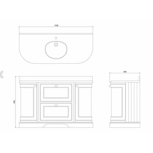 Meuble de salle de bain traditionnel simple vasque Olive Meuble Burlington Gris et Carrare