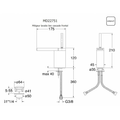 Mitigeur lavabo bec cascade frontal MODUL - MD22751 MD22751 Schéma