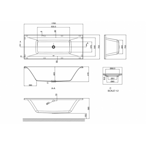 Baignoire rectangulaire ENVIRO 170x70 cm Cleargreen Enviro 170x70 Schéma