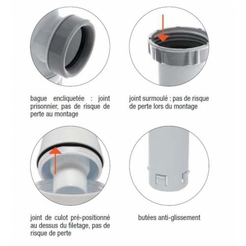 Siphon lavabo bi-matière-joint intégré CONNECTIC sortie Ø 32 - 6107* Siphon Connectic Valentin Détails