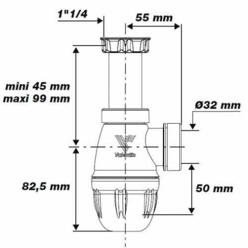 Siphon lavabo bi-matière-joint intégré CONNECTIC sortie Ø 32 - 6107* 6107-siphon-lavabo Valentin Schéma