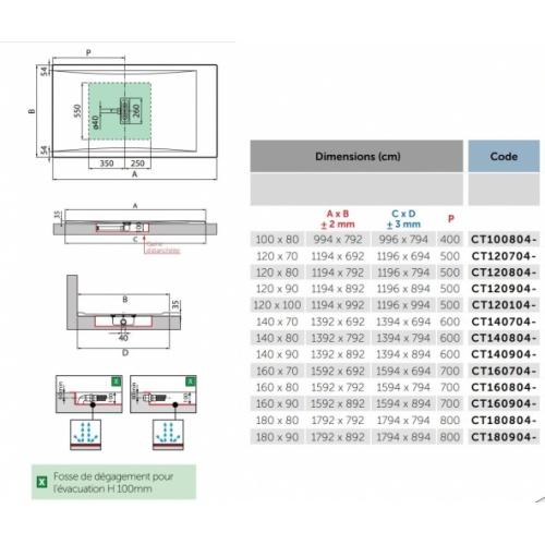 Receveur rectangulaire CUSTOM TOUCH Blanc Mat - Hauteur 3.5 cm - 100x80 cm CUSTOM Touch 3 5 cm Côtes