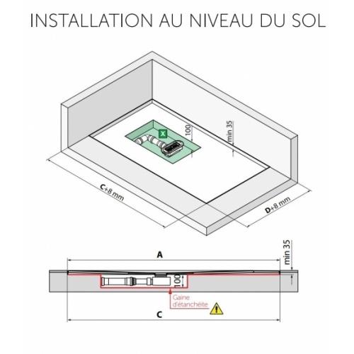 Receveur rectangulaire CUSTOM TOUCH Blanc Mat - Hauteur 3.5 cm - 100x80 cm Installation au niveau du sol