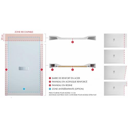 Receveur rectangulaire CUSTOM TOUCH Blanc Mat - Hauteur 3.5 cm - 100x80 cm Schéma custom