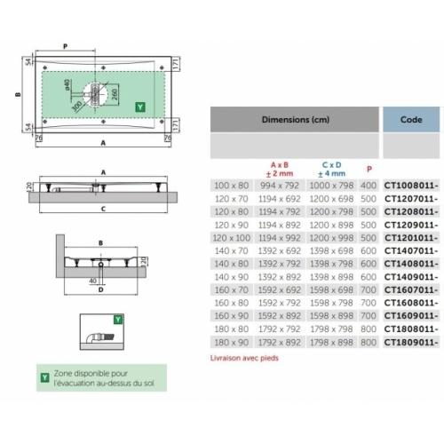 Receveur rectangulaire CUSTOM TOUCH Blanc Mat - Hauteur 12 cm - 100x80 cm CUSTOM Touch 12cm Côtes