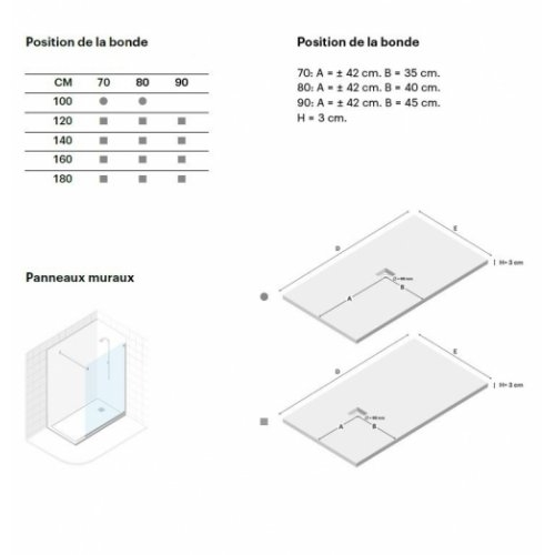 Receveur BASALTO Blanc 100x70cm Basalto Schéma