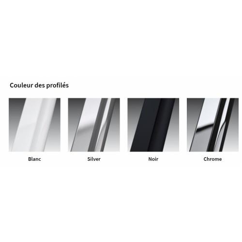 Paroi de douche Fixe KUADRA H FUME 70 cm - Profilé Chromé Couleur Profilés YOUNG 2 0