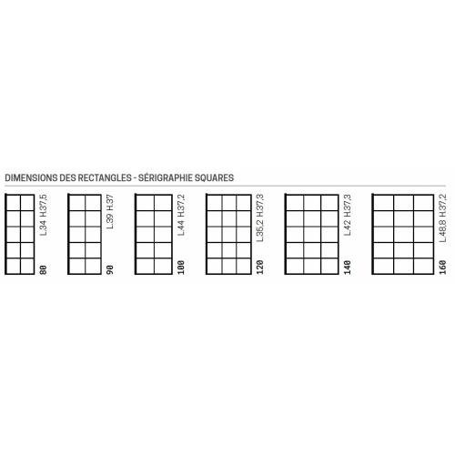 Paroi de douche fixe KUADRA H Squares 90cm Dimensions des rectangles - Sérigraphie Squares