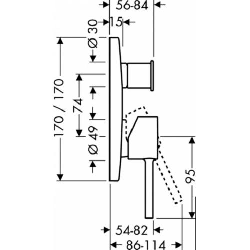 Set finition pour mitigeur b/d encastré Starck X 10445 plan 10445