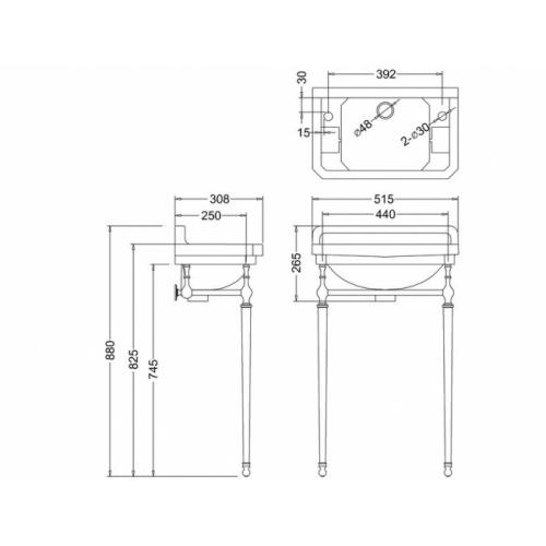 Lave-mains + Console EDOUARDIEN - 2 Trous de Robinetterie Lave mains Edouardien B8 2th Schéma