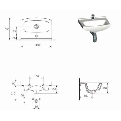 Meuble lave main avec vasque SATI 40 cm Vasque SATI 40- Côtes