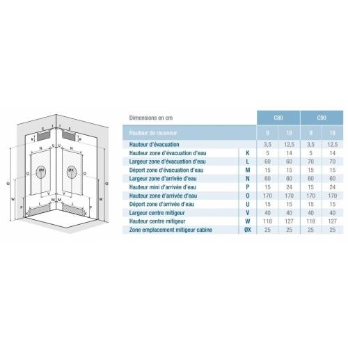 Cabine de douche EDEN C80 faible Hauteur - Porte pivotante - 80x80cm EDEN Carrée Installation