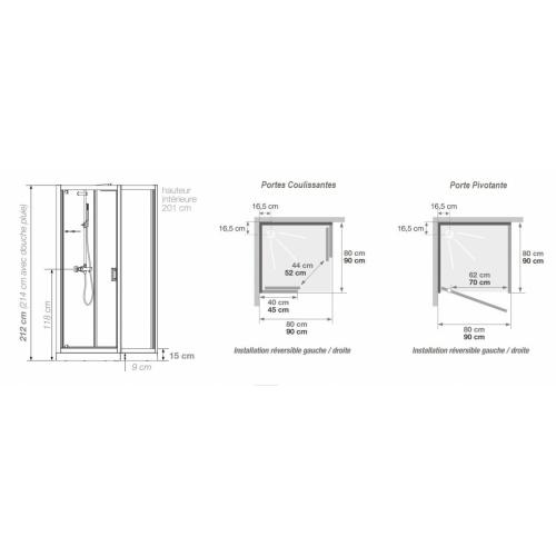 Cabine de douche EDEN C80 faible Hauteur - Porte pivotante - 80x80cm EDEN Carrée Schéma