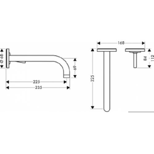 Ensemble mitigeur lavabo encastré + corps encastrement Axor Uno - 38116000+13622180 Plan 38116