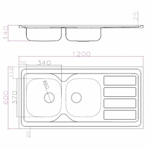 Meuble DECO-CLIP Graphite + Évier à poser SINOPE en inox SINOPE 120 cm Schéma