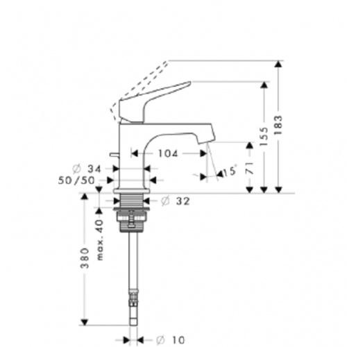 Mitigeur lave-mains CITTERIO M 34016 plan 34016