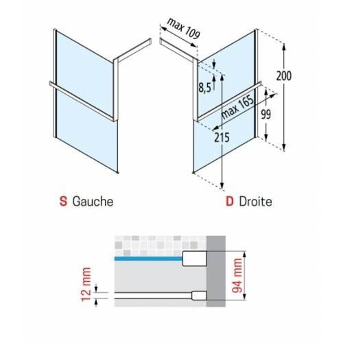 KIT-FRAME - Fixation au mur à Droite + Porte-serviette - Noir Mat Kit Frame Schéma