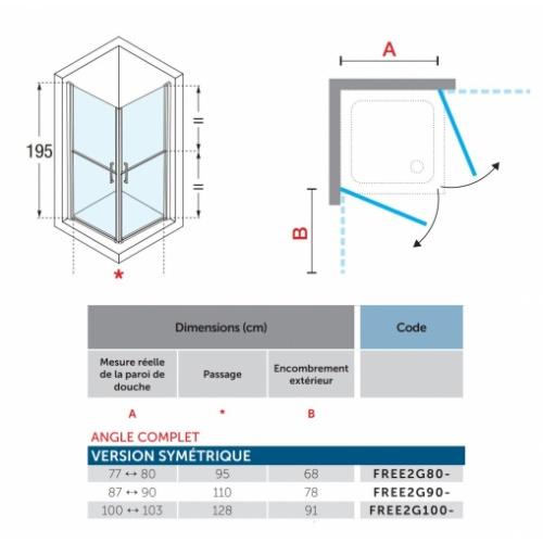 Paroi FREE 1 2G avec ouverture en 2 parties - Angle 80x80cm FREE1 2G Schéma