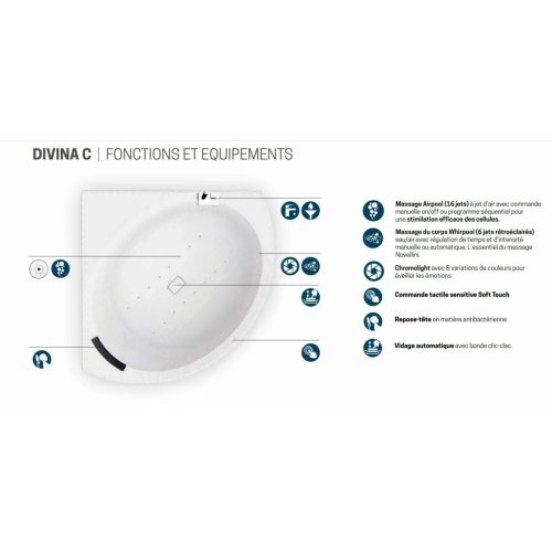 Baignoire d'angle DIVINA C Blanc brillant - Système Hydro Plus DIVINA C - Hydro Plus