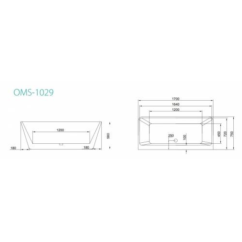 Baignoire rectangulaire moderne MISTRAL avec rebord mural OMS-1029 Schéma