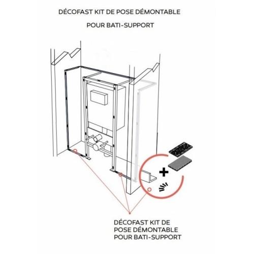 Habillage décoratif Bâti WC DECOFAST Gris Perle DécoFast Kit démontage pour bati