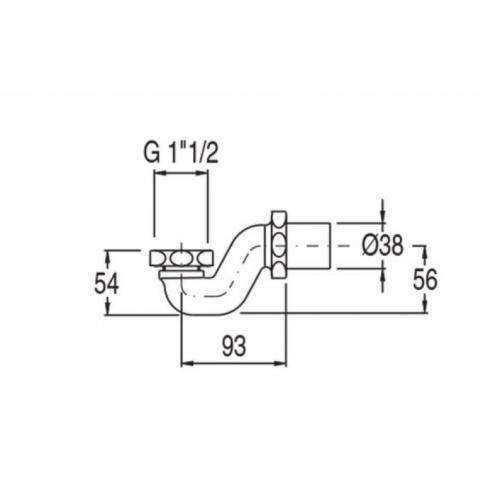 Siphon horizontal en laiton pour vidage baignoire rétro chromé VS48051 Schéma
