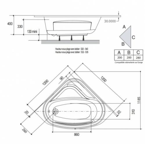 Baignoire d'angle VARIA 120x120 cm SANS Tablier baignoire-varia Schéma