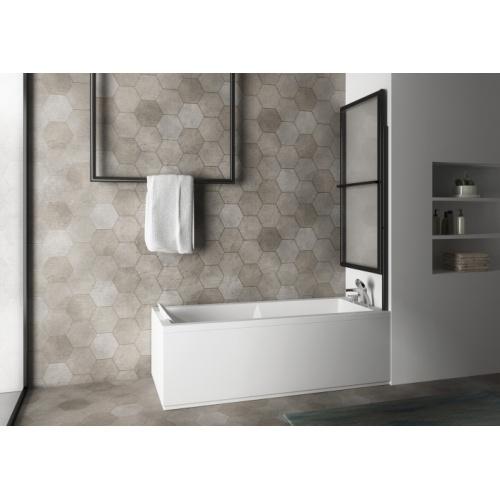 Pare-baignoire pivotant et relevable SECURE Noir mat Pare-bain SECURE 1 volet plié