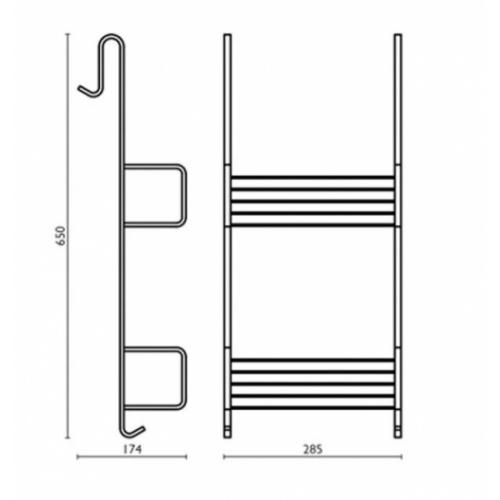 Porte savon double à panier à accrocher Noir mat GH15951 Schéma