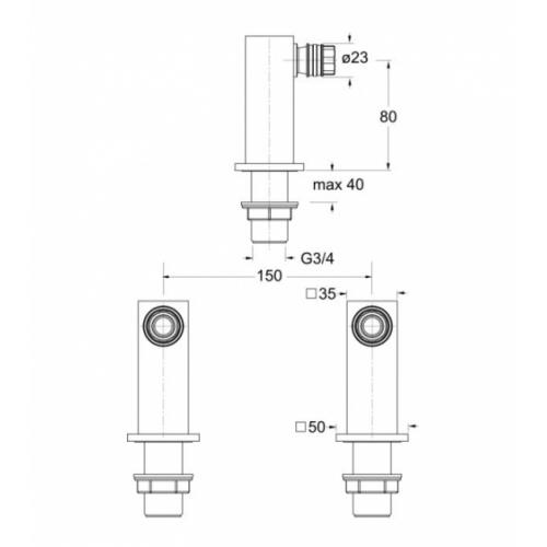 Paire de colonnettes QUADRI carrée - Hauteur 80 mm - Chromée PD49851 Schéma