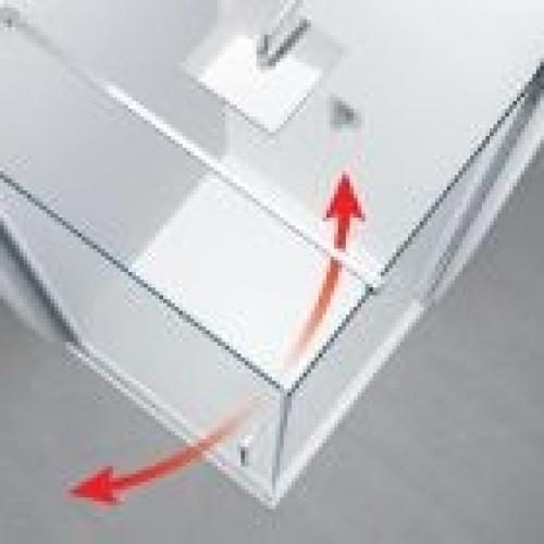Paroi quart de cercle YOUNG R2 2 portes battantes et 2 fixes en alignement - Silver - 100x100cm Ouverture intérieur-extérieur