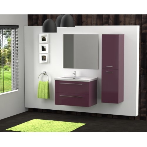 Meuble simple vasque 77 Saturn 2.0 Aubergine SANS miroir**