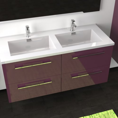 Meuble double vasque 117 Saturn 2.0 Aubergine SANS miroir** Cascade 120 aubergine-3