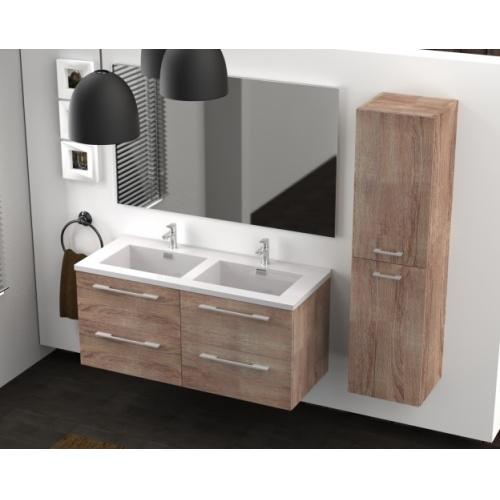 Meuble double vasque 117 Jupiter 2.0 Bois Foncé SANS miroir