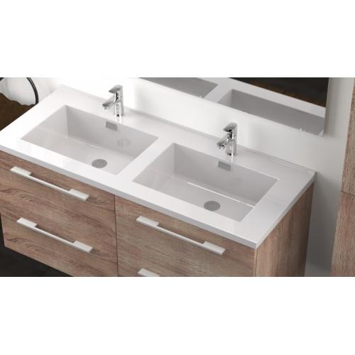Meuble double vasque 117 Jupiter 2.0 Bois Foncé miroir Lite** City 120 bois foncé-3