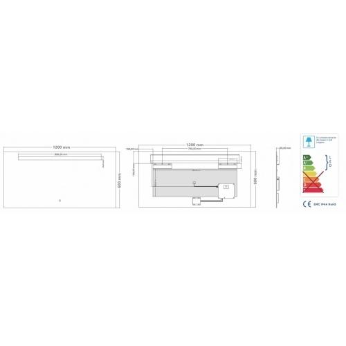 Miroir éclairant KATHY - 120x60 cm Miroir KATHY 120 - Schéma