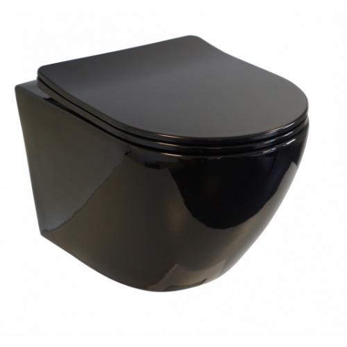 Pack Geberit UP320 + Cuvette sans bride KELOS Noir Brillant + Plaque Sigma Noir WCNB-droit-ferme