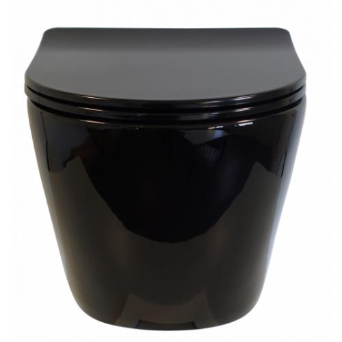 Pack Geberit UP320 + Cuvette sans bride KELOS Noir Brillant + Plaque Sigma Noir WCNB-face-ferme