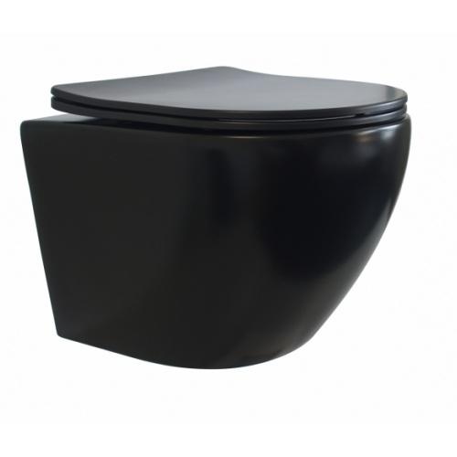 Pack Geberit UP320 + Cuvette sans bride KELOS Noir Mat + Plaque Sigma Noir WCNM-droit-ferme