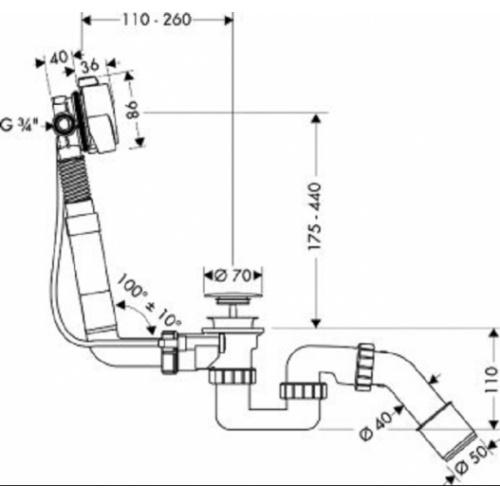 Vidage de baignoire à bec déverseur Exafill S 58113 cotes 58113