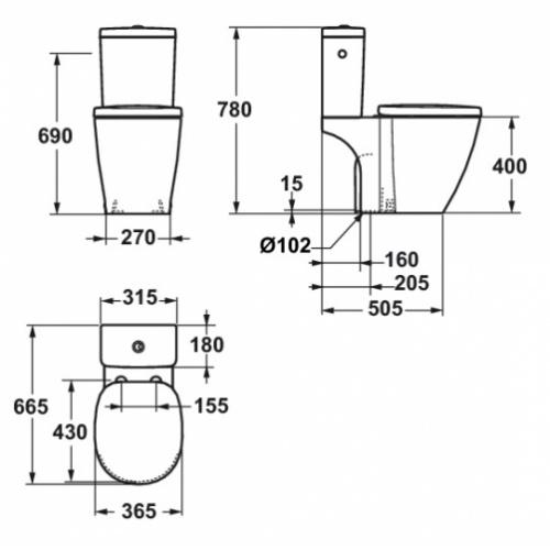 Pack WC Cube Connect - SV - Alimentation latérale - E715601 E715601 CONNECT SV Schéma