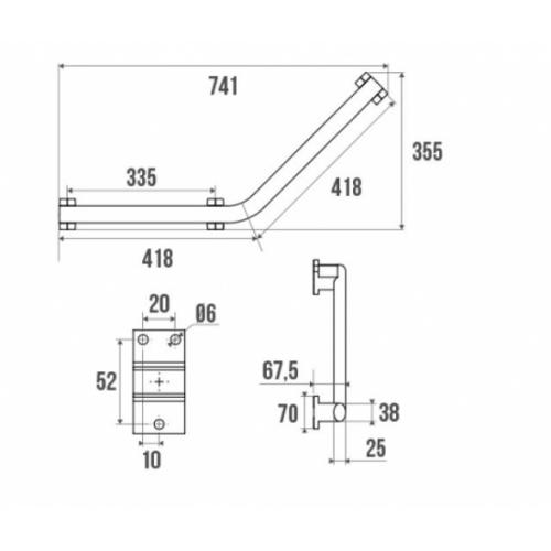 Barre coudée 135°, symétrique, 3 points de fixation Anthracite barre-coudee-135 Schéma