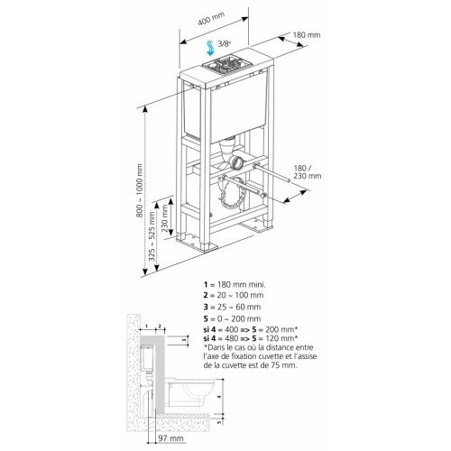 Bâti-support Faible Hauteur BCS VERSO 800 autoportant schema-bcs verso 800